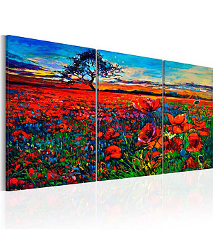 Пано за стена от 3 части Valley of Poppies 60x30 см снимка