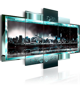 Пано за стена от 5 частиTurquoise New York: Starry Night 100x50 см снимка