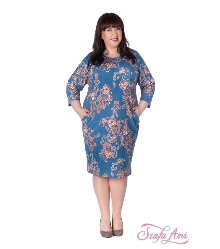 1d2d139a938 Синя рокля с принт в цвят корал Marina - 940261 - Fashion Supreme.co.uk