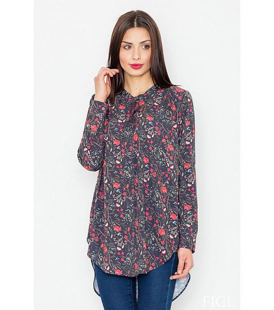 90e3df199ab Дълга дамска риза в цвят графит с флорален принт Vannie - 2112763 ...