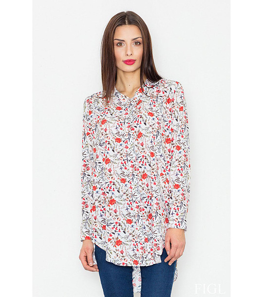 24380fe2e00 Бяла дълга дамска риза с флорален принт Vannie - 2231800 - Fashion ...