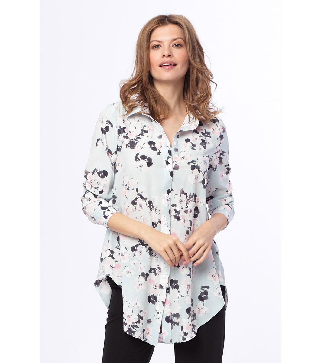 d06ff4f273b Светлосиня дълга дамска риза с принт Reli - 1985013 - Fashion ...