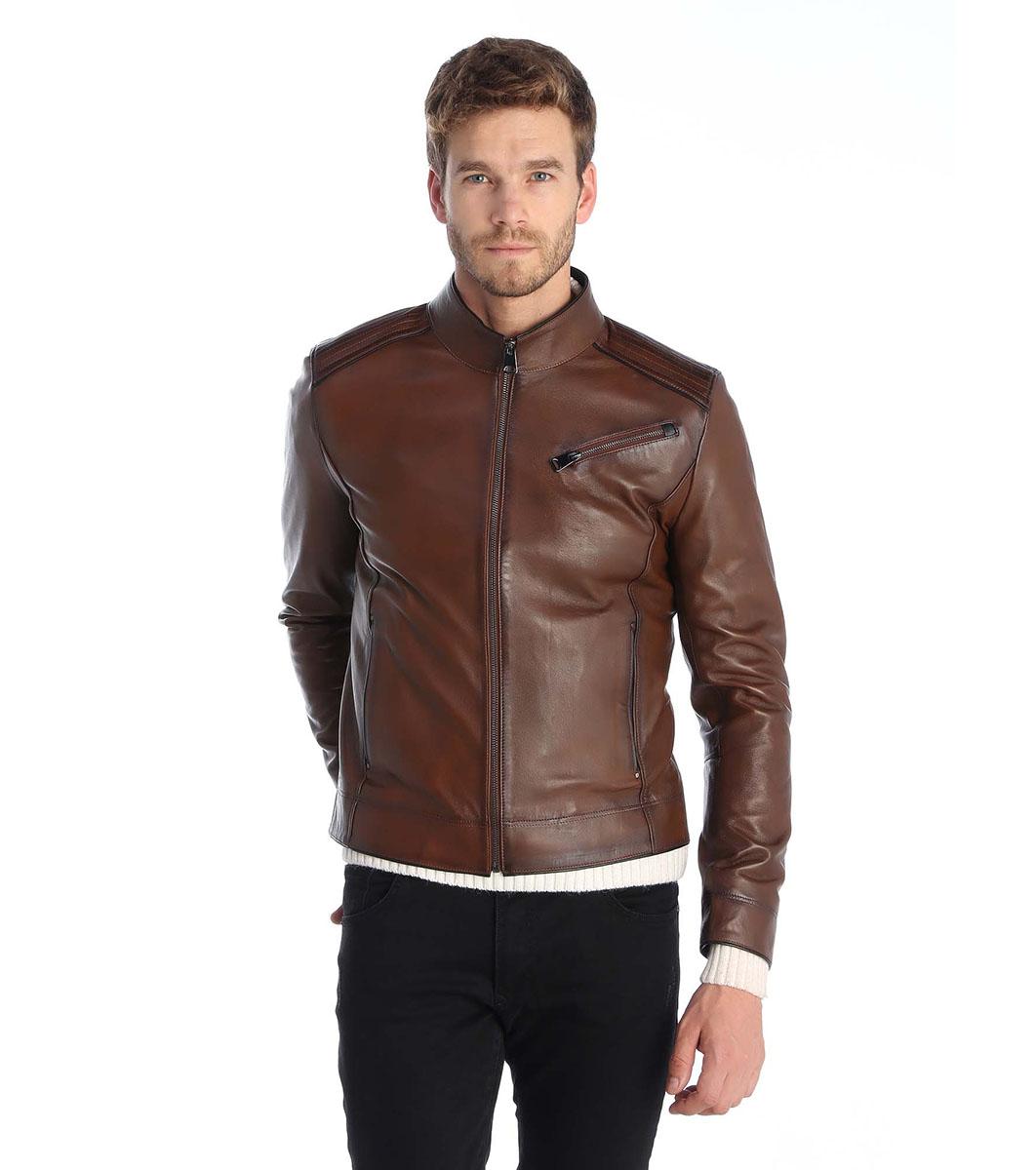 8130db82cb8 Мъжко кафяво кожено яке Bruno - 2373942 - Fashion Supreme.co.uk