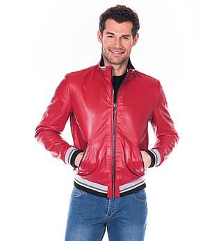 effd2cd6e07 Червено мъжко кожено яке Donald