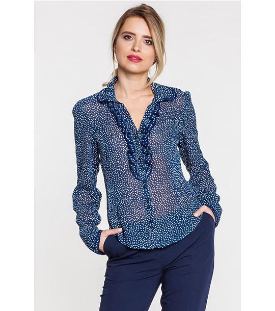 662696bb9ab Синя дамска риза с бял принт на точки - 1986842 - Fashion Supreme.co.uk