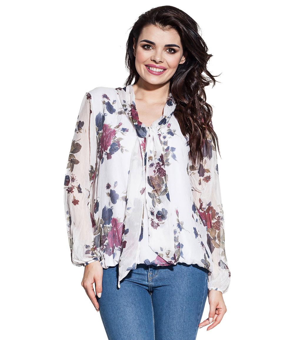 da535bf1301 Дамска копринена блуза в бяло с флорален принт Esther - 1846889 ...