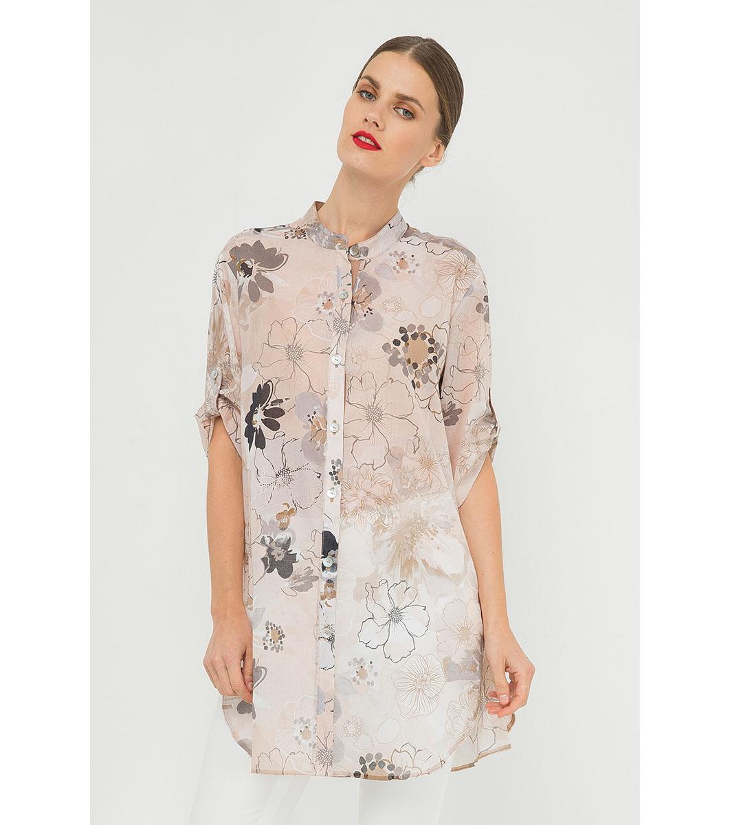 fdae9cac21f Дълга памучна дамска риза в бежово с принт Minelli - 2162277 ...