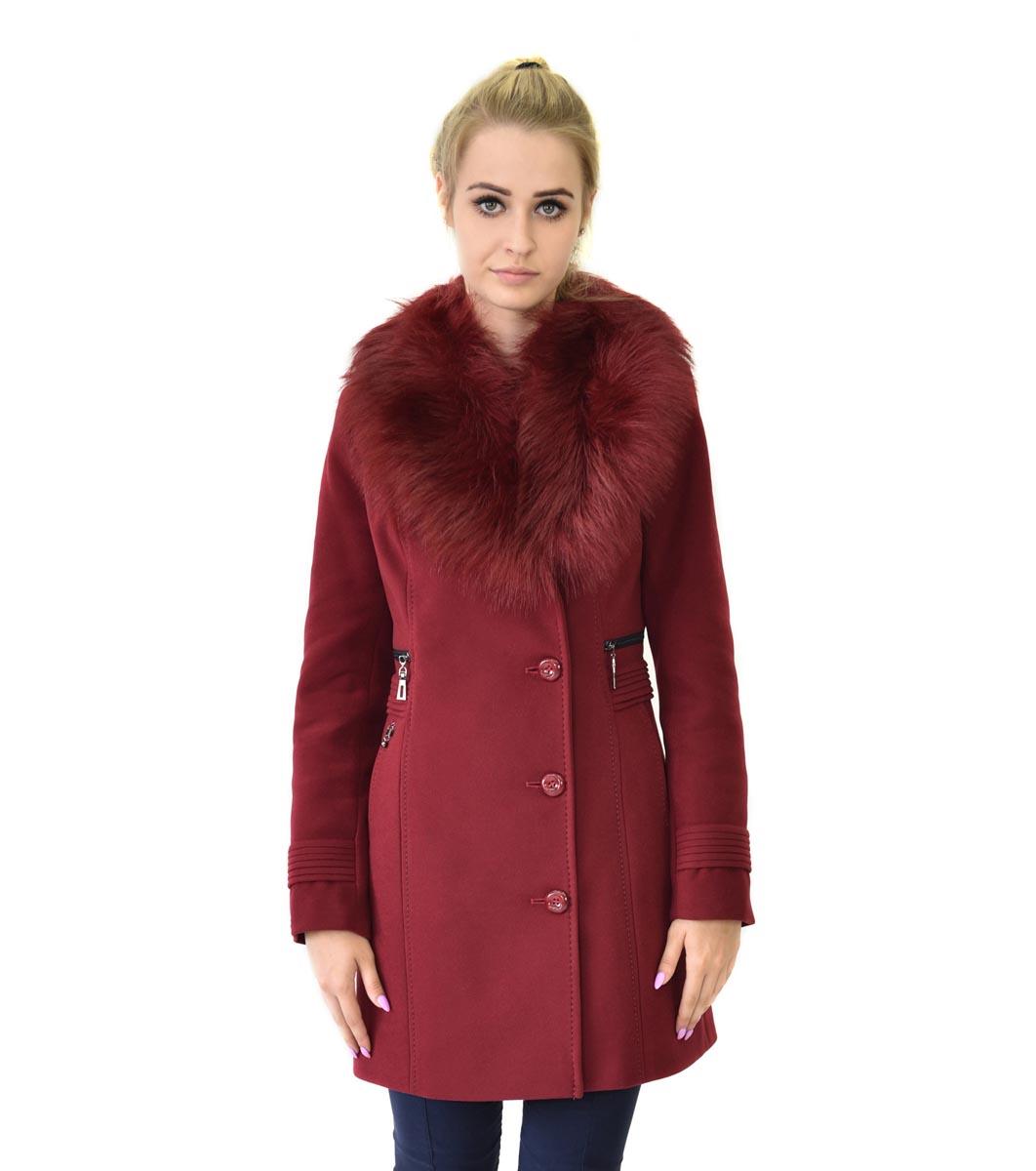 4067424c8e9 Дамско вълнено палто Claret в нюанс на цвят бордо - 2142976 ...