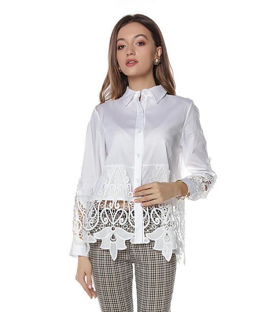 75e5b030dc2 Бяла памучна дамска риза с ефектна дантела - 2209770 - Fashion ...