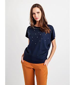 e9e97d075e0 Дамска блуза в тъмносиньо с прилеп ръкави Albina