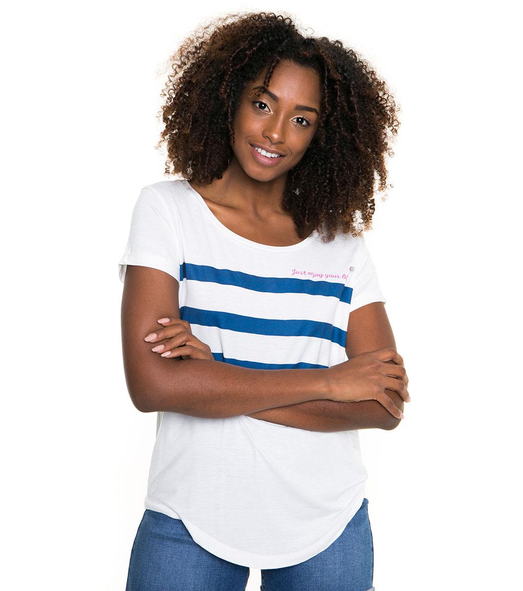 9df043a5072 Дамска тениска в цвят екрю и синьо Edmi - 2372880 - Fashion Supreme ...